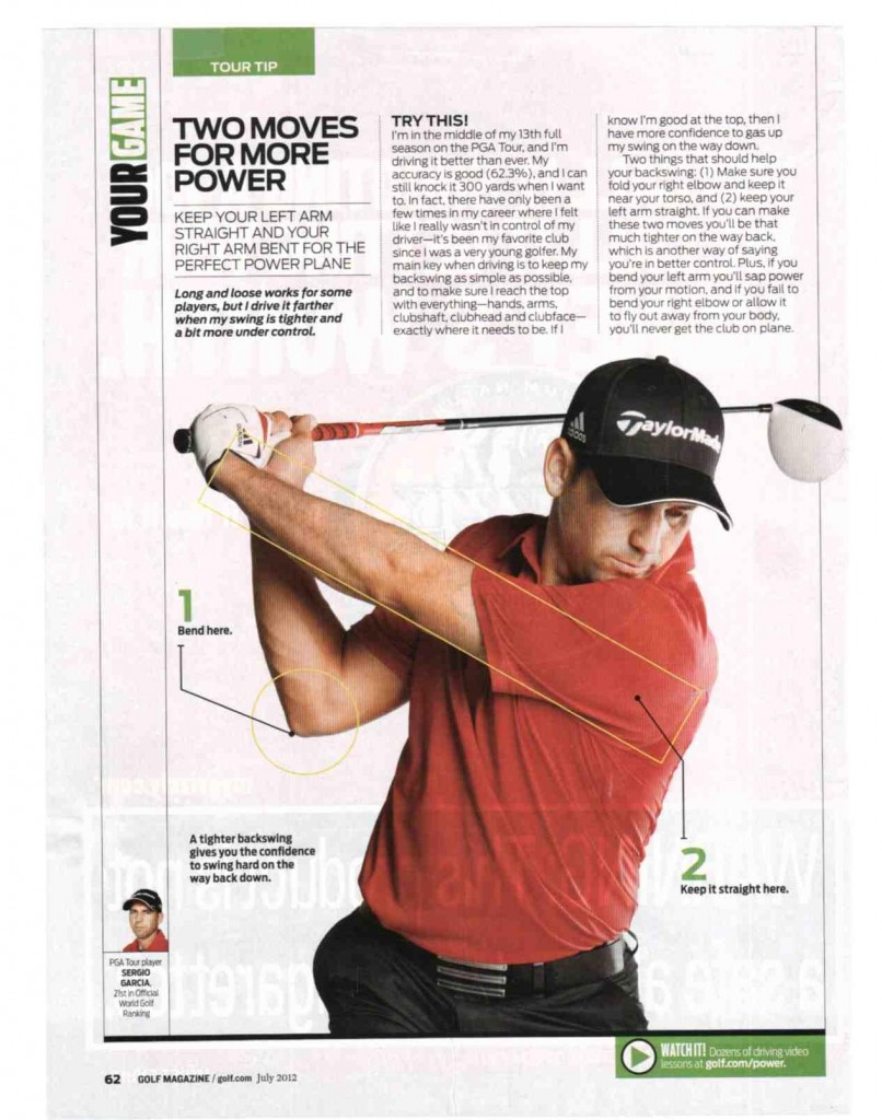 Golf Magazine Article Straight Arm For Power Swing By