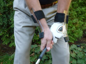 Chip with a lagging wrist on your trailing arm & never cup your leading wrist in the follow-though with GOLFSTR+
