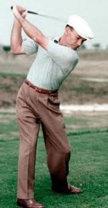 Ben Hogan had a server rotation and straight arm backswing.  This is not relaxed.