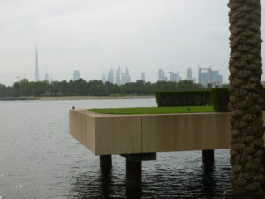 Teeing off from a concrete slab over water with Burg Kalaifa, the tallest building in the world over my shoulder also makes it difficult to focus.