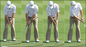 Rory Putts with his shoulders and keeps his head focused on to ball at rest to help him swing STRAIGHT up his target line.