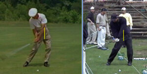 Hogan and Woods both push with their trailing instep to start their downswing.